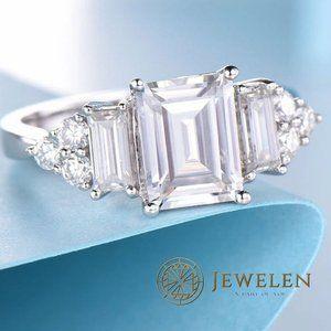 2.5 TCW White Emerald Cut Moissanite Silver Ring